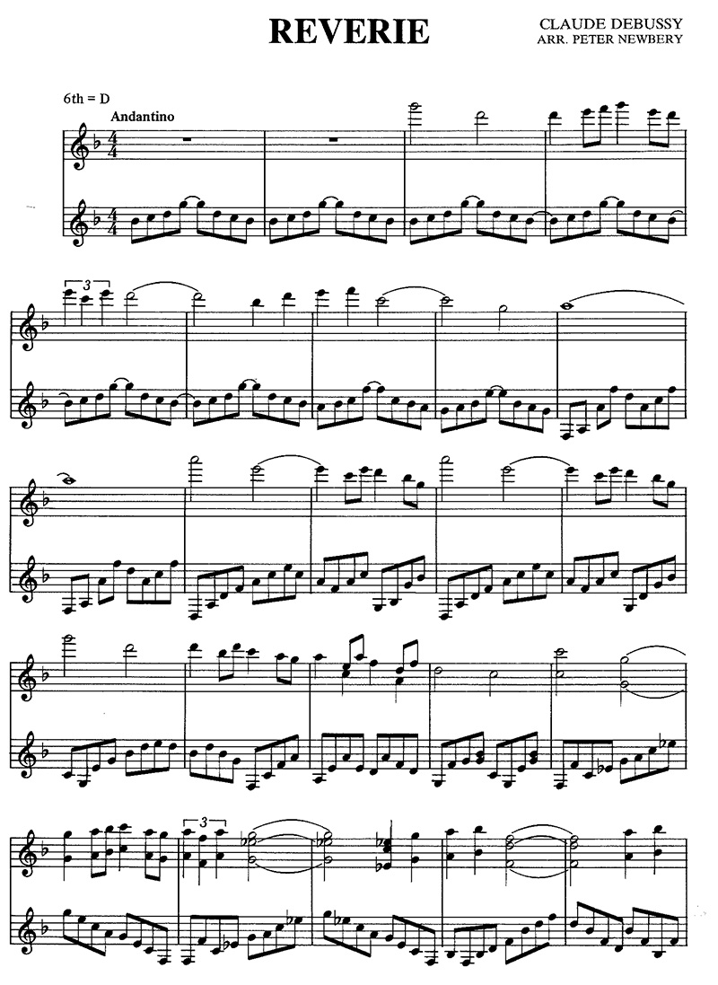 """Claude Debussy """"Reverie"""" Classical Guitar Music page 1/4"""