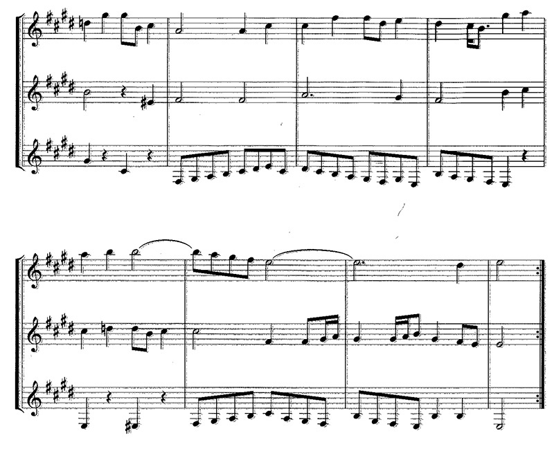 Classical Guitar music notation J.S. Bach Gavotte for trio guitar page 1