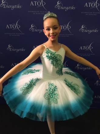 Classical Ballet tutu - stretch tutu - white and teal - dyed outer edge