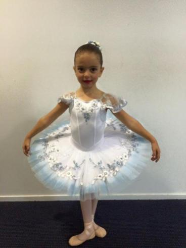 Classical Ballet tutu - stretch tutu - white and blue - dyed outer edge