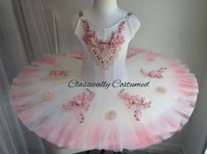 Classical Ballet tutu - stretch tutu -cream and pink - dyed outer tulle