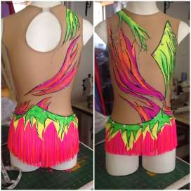 handpainted with fringed skirt