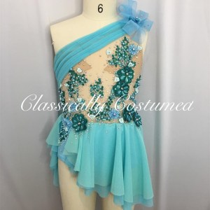 Aqua Blue Lyrical Dance Costume, Designer Competition Dance Costume