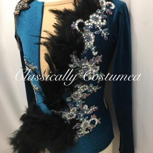 Teal and Black Competition Dance Costume