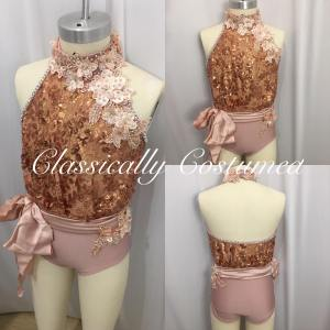 Bronze and Dusky Pink Vintage look lyrical dance costume
