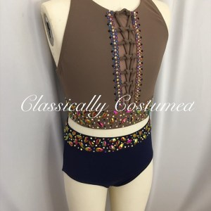 Taupe and navy dance costume