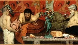 painting of Greek drinking wine