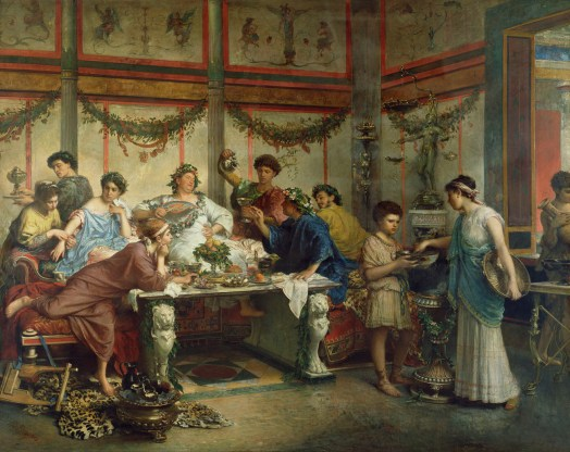 Painting of Ancient Roman drinking