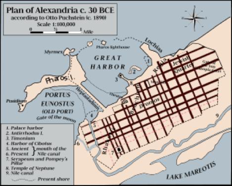 Map of Ancient Alexandria, Egypt