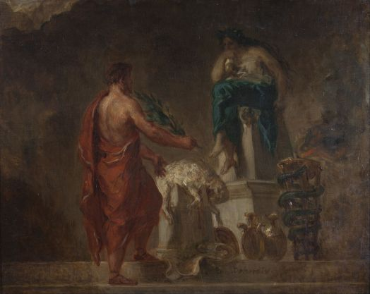 Painting of the Pythia at the Oracle of Delphi