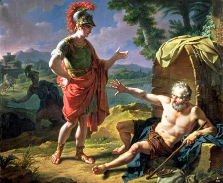Painting by Monsiau, depicting the encounter between Alexander and Diogenes