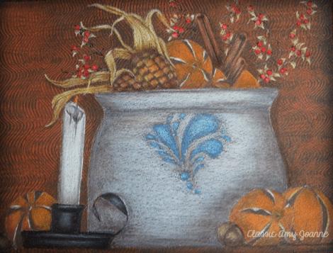 Autumn Vignette Colored Pencil Design with bonus basket instructions