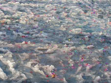 Icy conditions looked to slow down this year's Lunar Parade ...