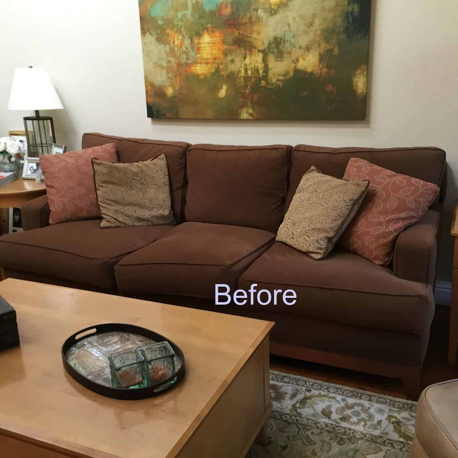 Brown Couch Blues: Mini Makeover Before and After   Classic Casual