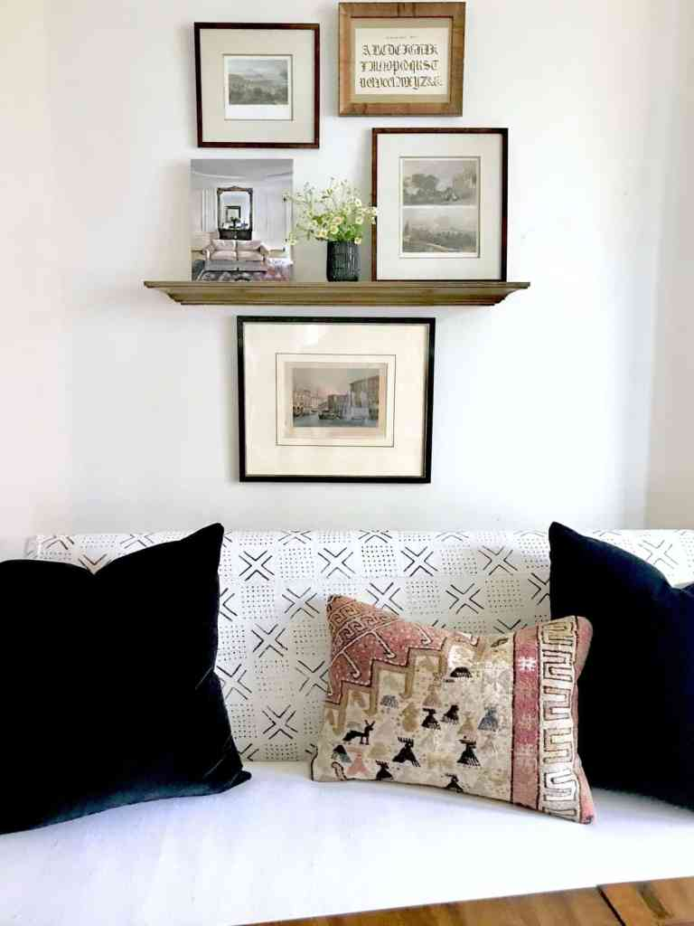 gallery wall with vintage prints