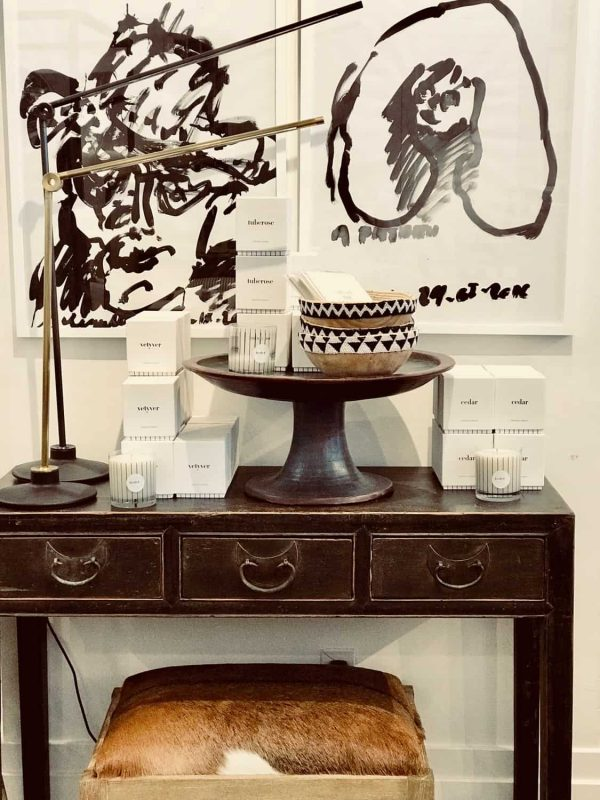 Black and white art, Asian console, black and white beaded bowls