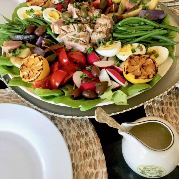 Grilled Ahi Tuna Salade Nicoise with Lemon Vinaigrette on the side