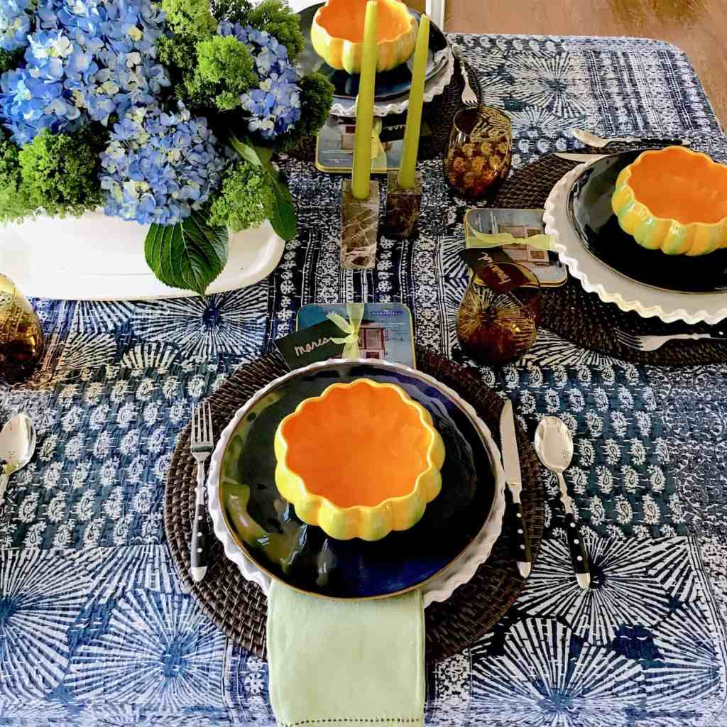 Blue, Orange and Green Fall Table Setting