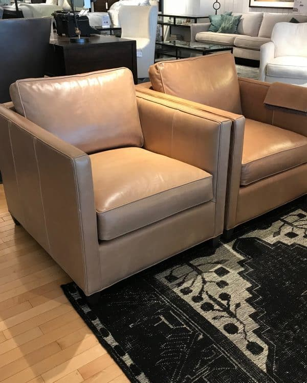 tan leather club chairs Crate and Barrel and CB2