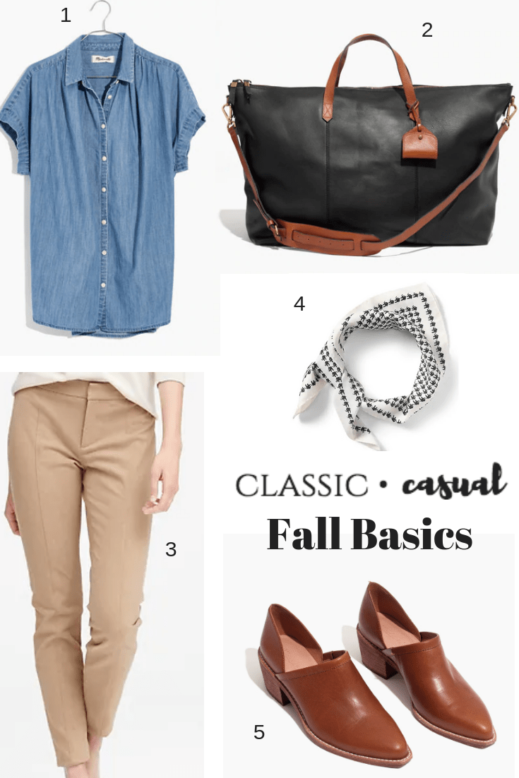Casual Fall Basics , low booties, chambray shirt