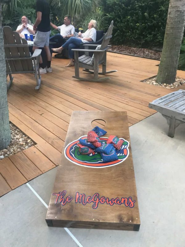 Custom Gator Corn Hole game