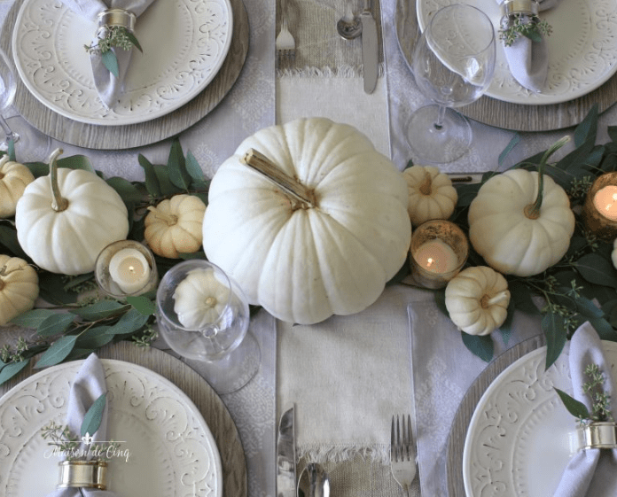 White Pumpkins with Wood Chargers Thanksgiving Table