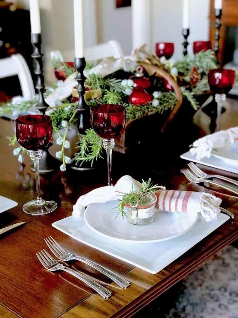 Red White and Green Christmas Table