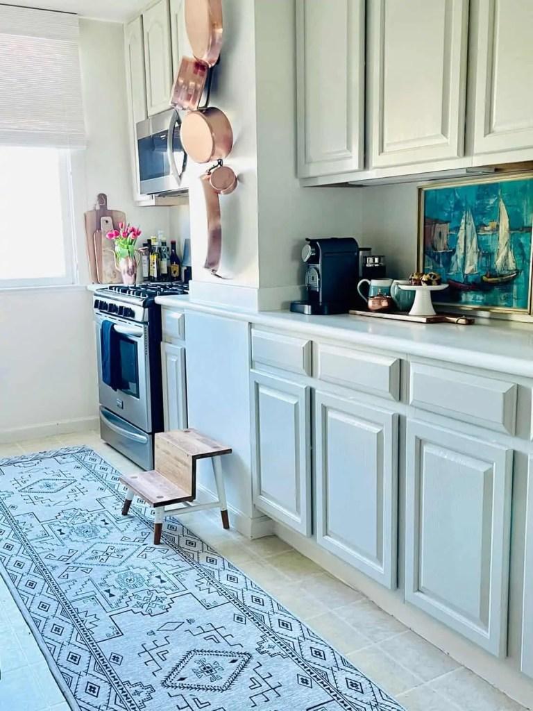 Ruggable rug in rental kitchen