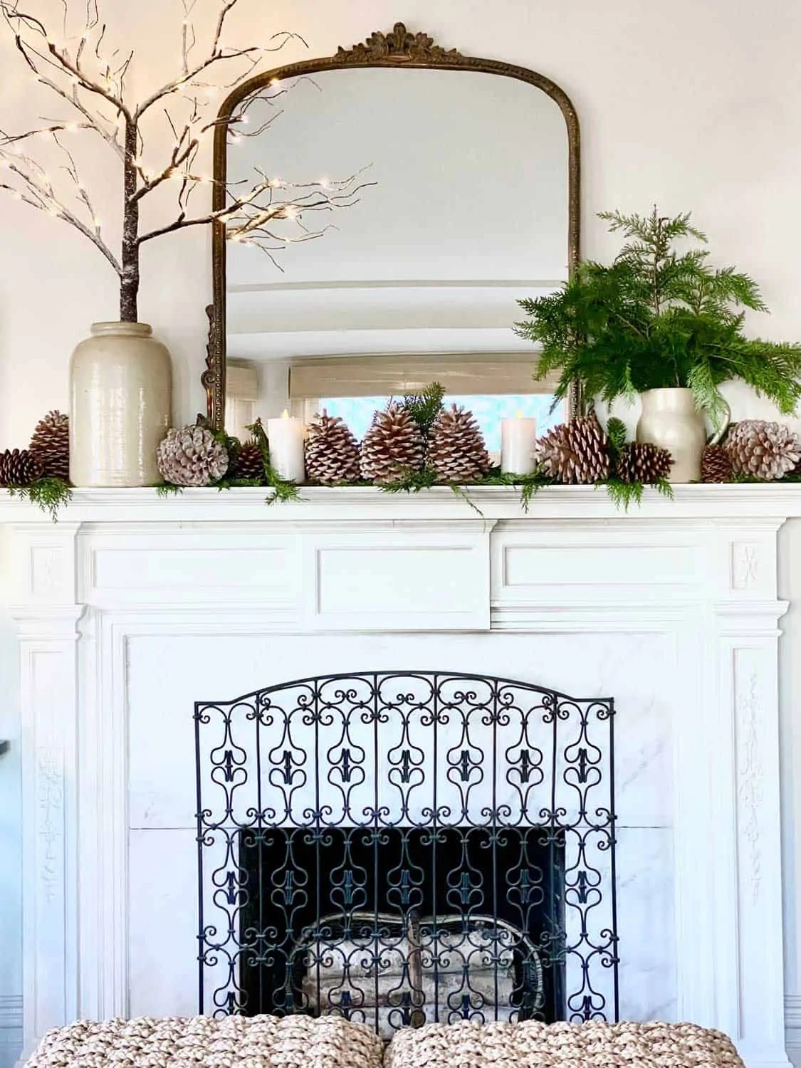 Mary Ann Pickett's Christmas Mantel with Anthropologie mirror