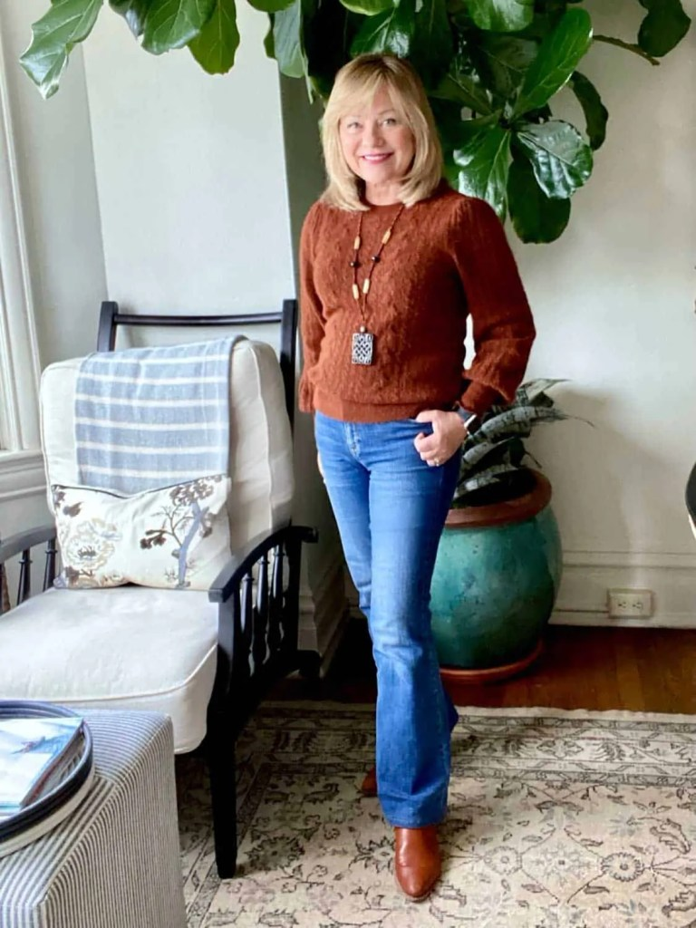 Mary Ann Pickett wearing s cozy classic sweater