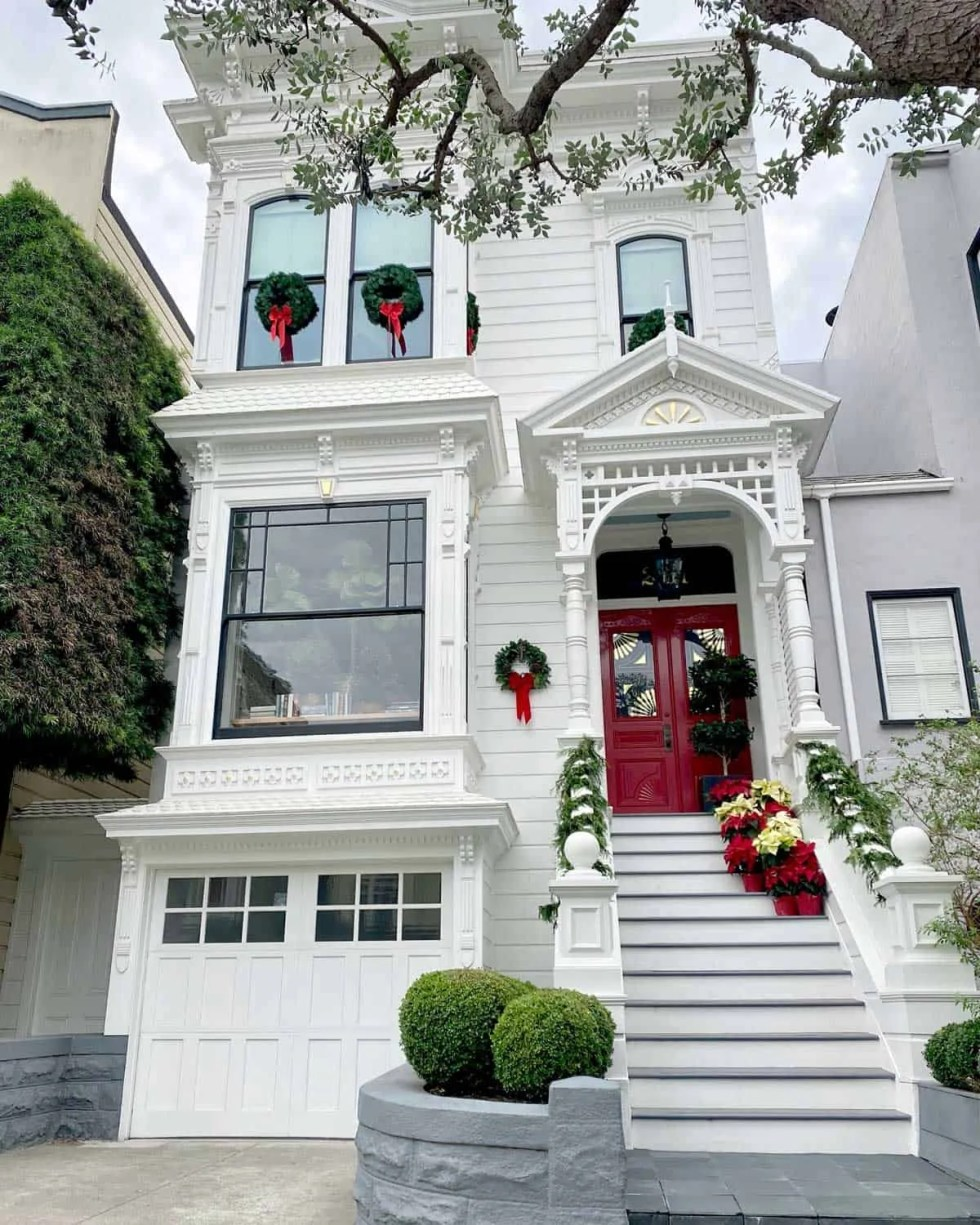 Red, White and Black Victorian Home at Christmas