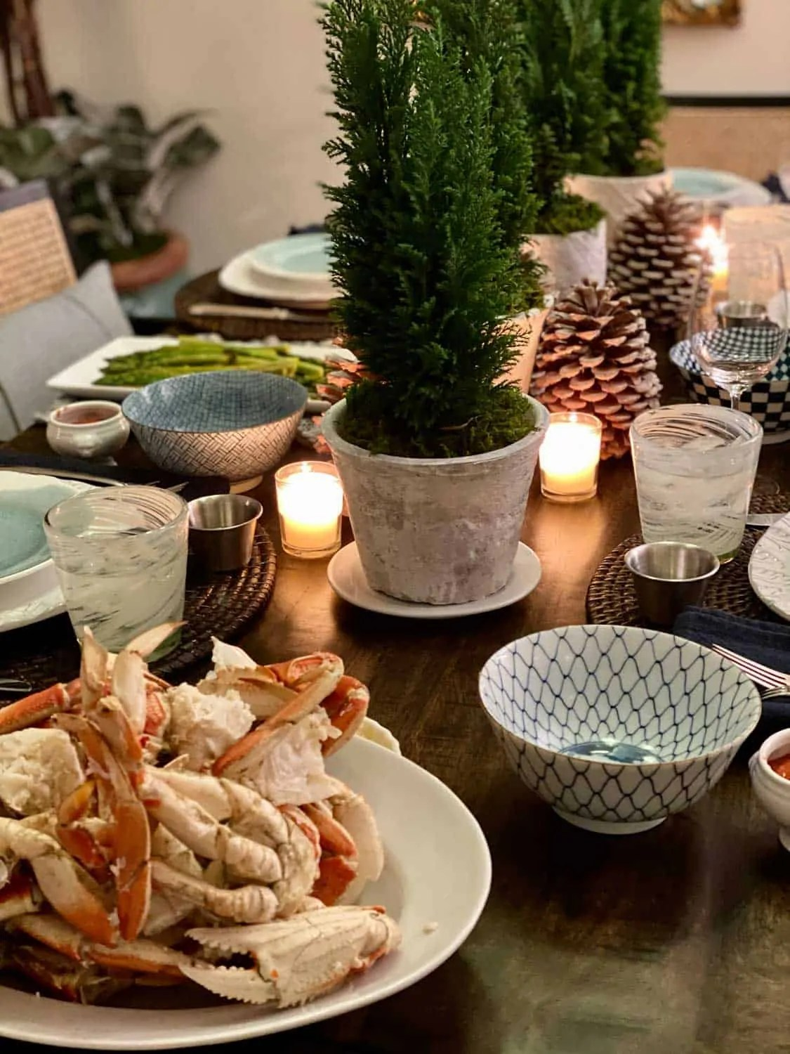Table setting for Crab Dinner