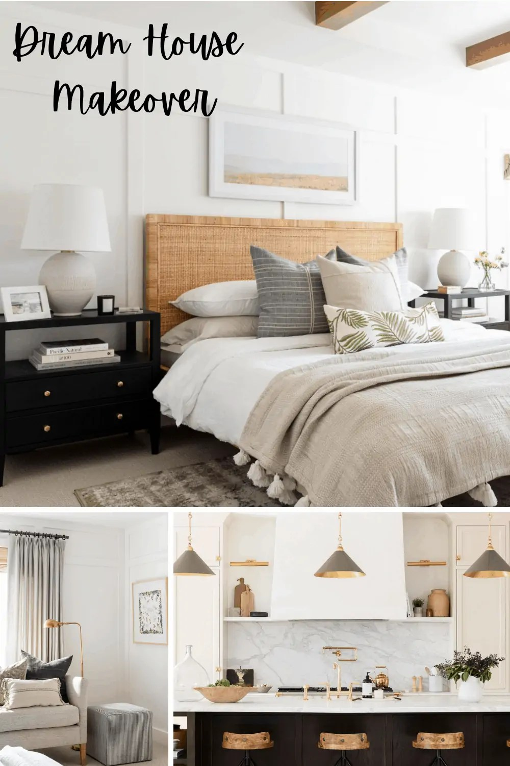 Studio McGee's Netflix Show with a coastal bedroom and Dark Kitchen Island
