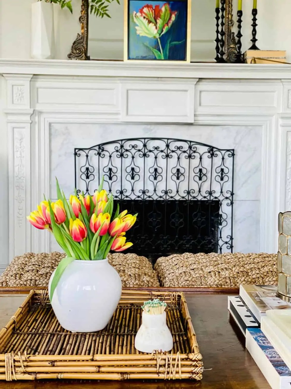 Coffee Table Styling with Tulips and White ceramic vase from Target