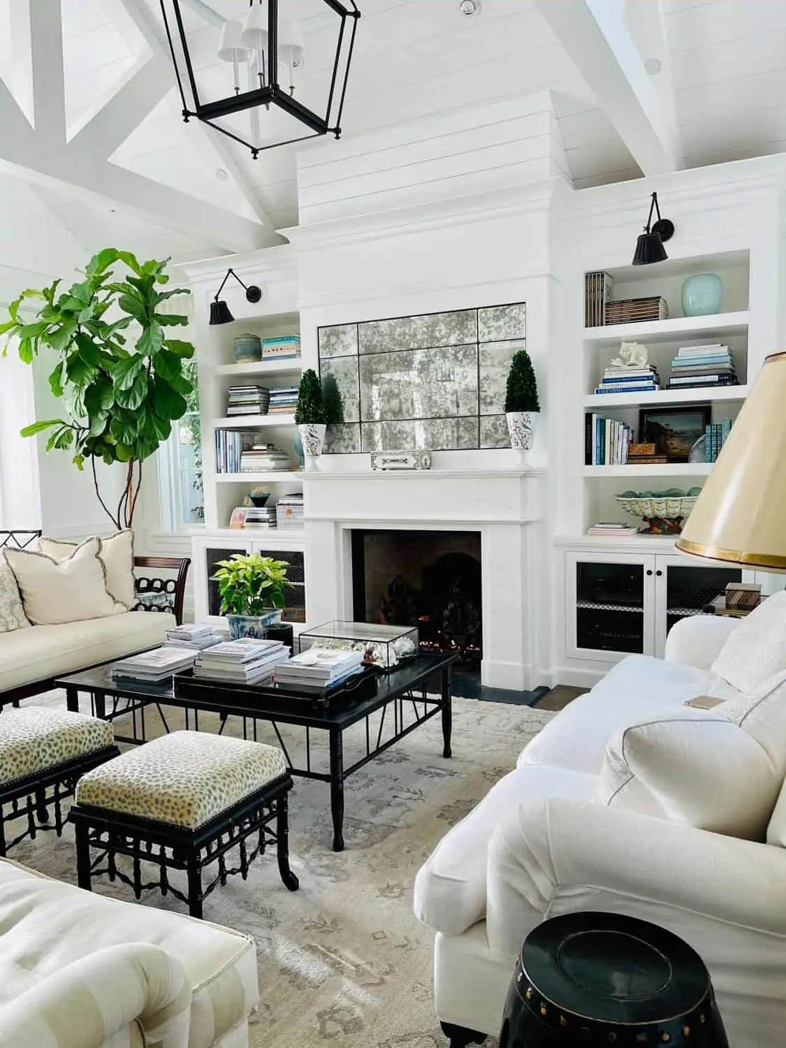 White Living Room with beamed ceiling