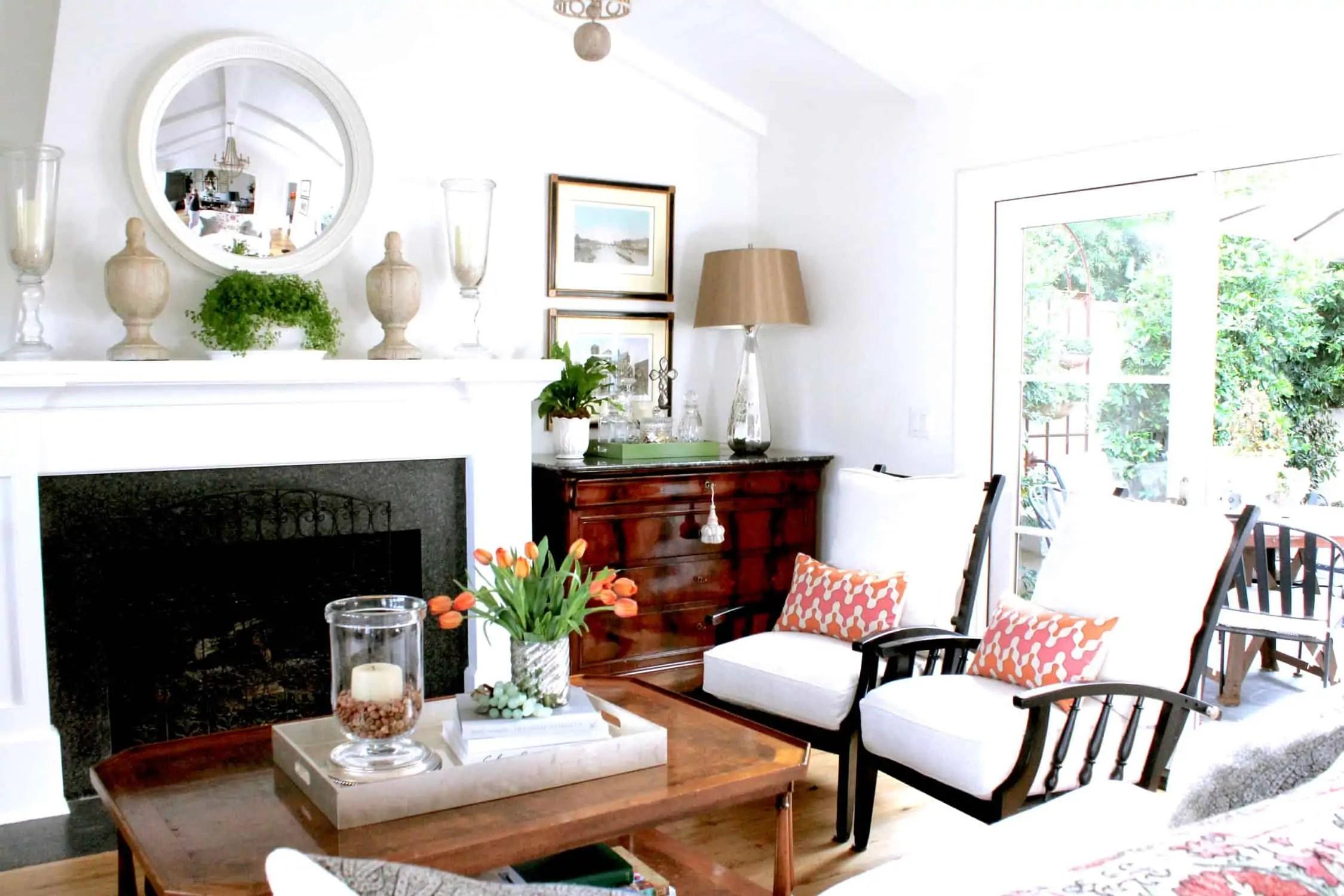 white beach cottage living room