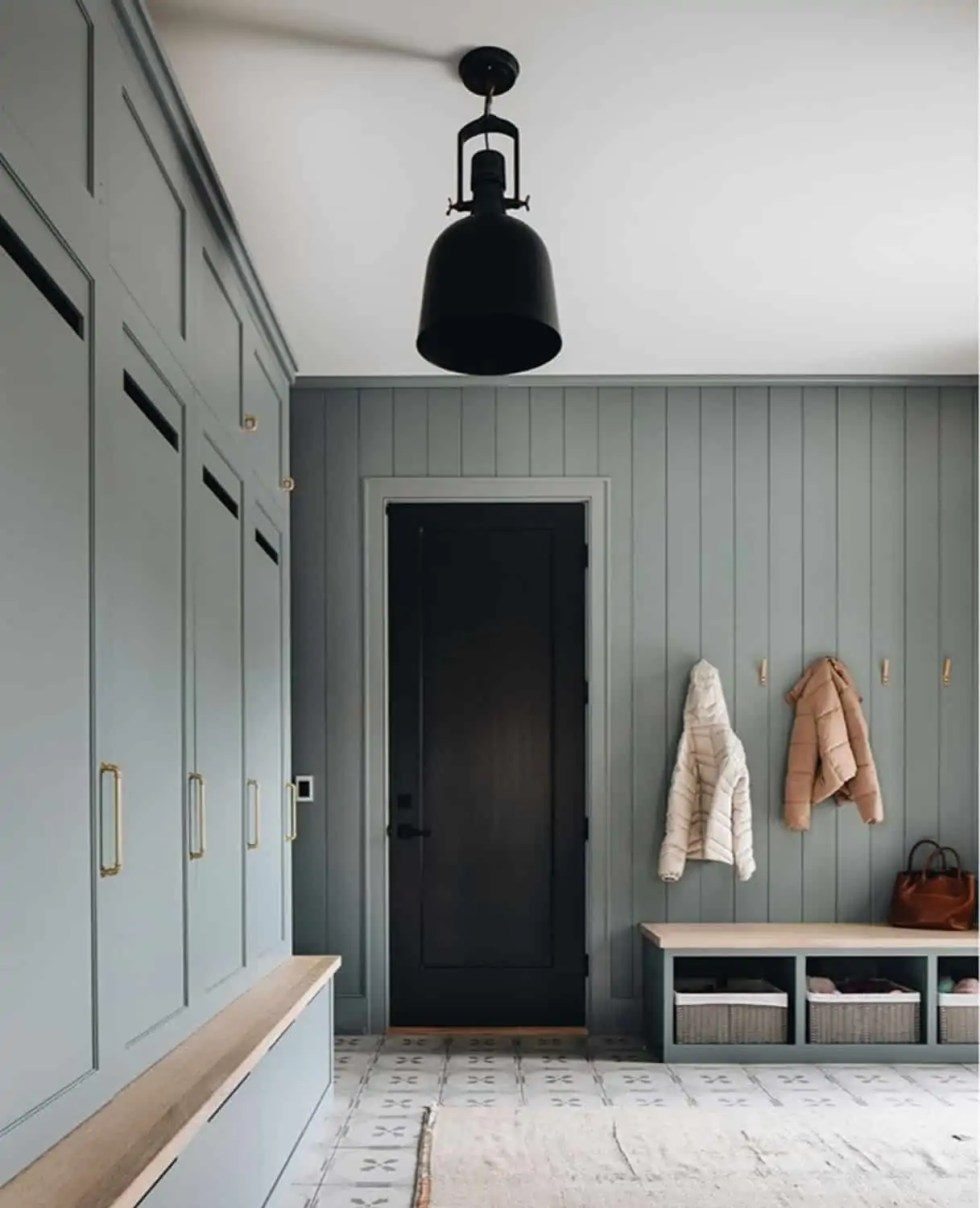 green mudroom with lockers
