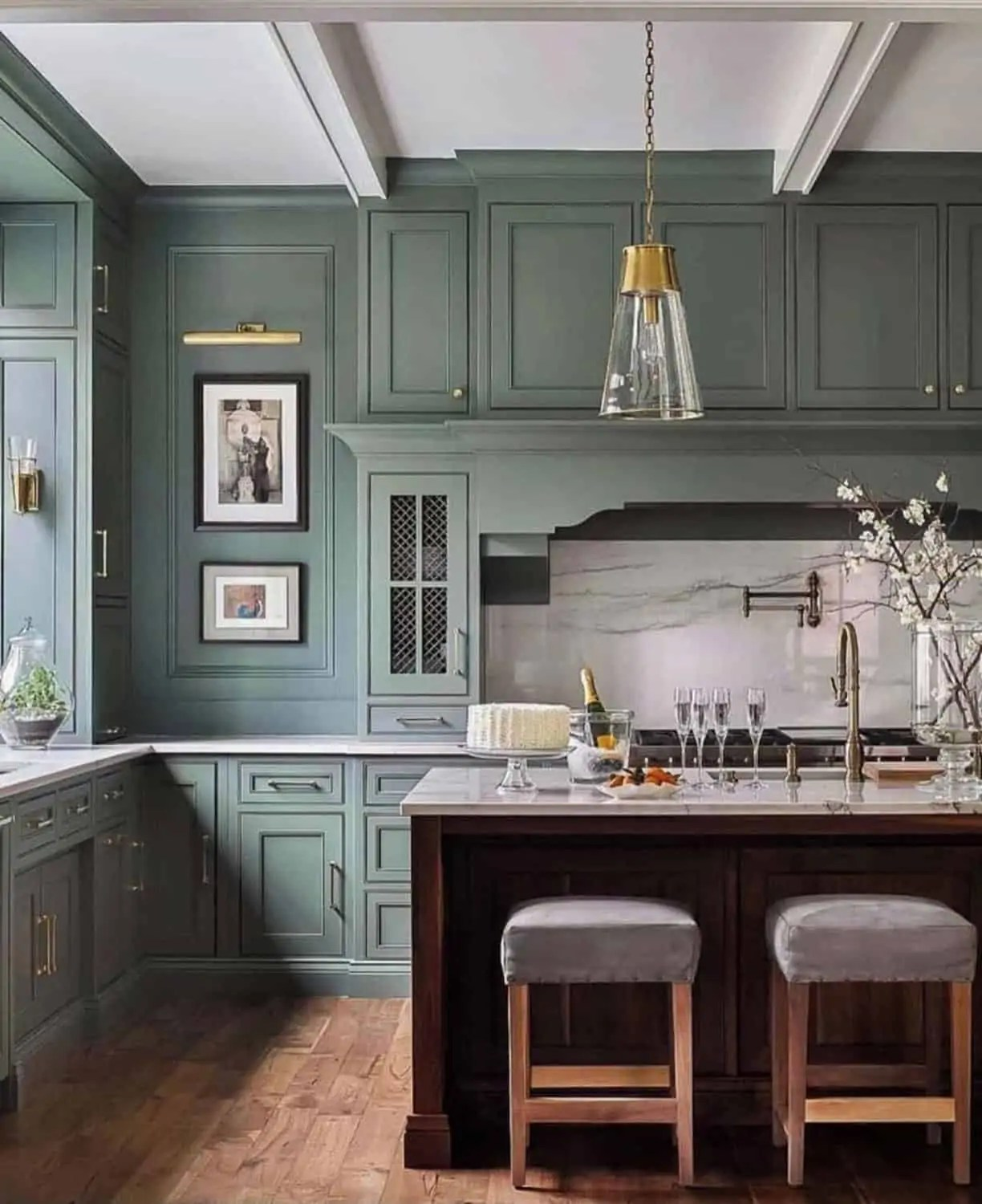 green cabinets with Circa lighting brass sconce