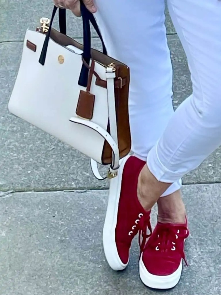 Tory Burch Purse and Red Sneakers