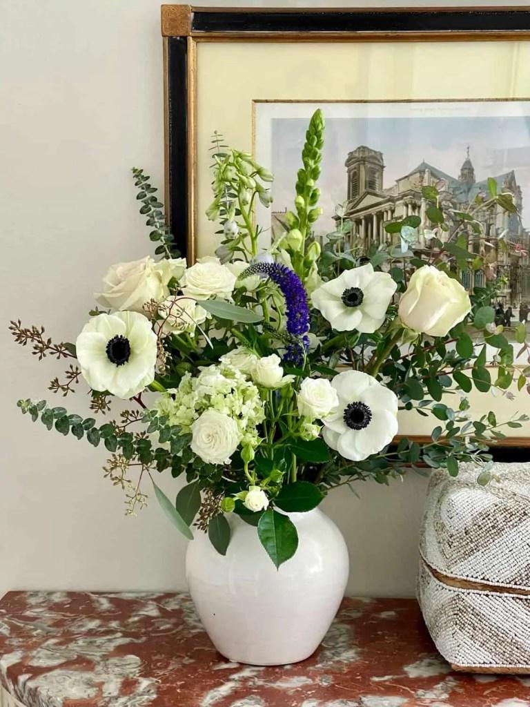 White flower arrangement with anemones