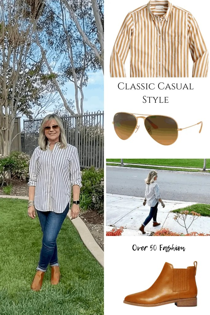 Mary Ann Pickett in Striped Shirt and Flat Booties