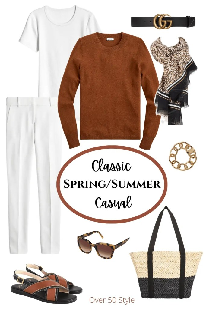 Over 50 White and Brown Outfit