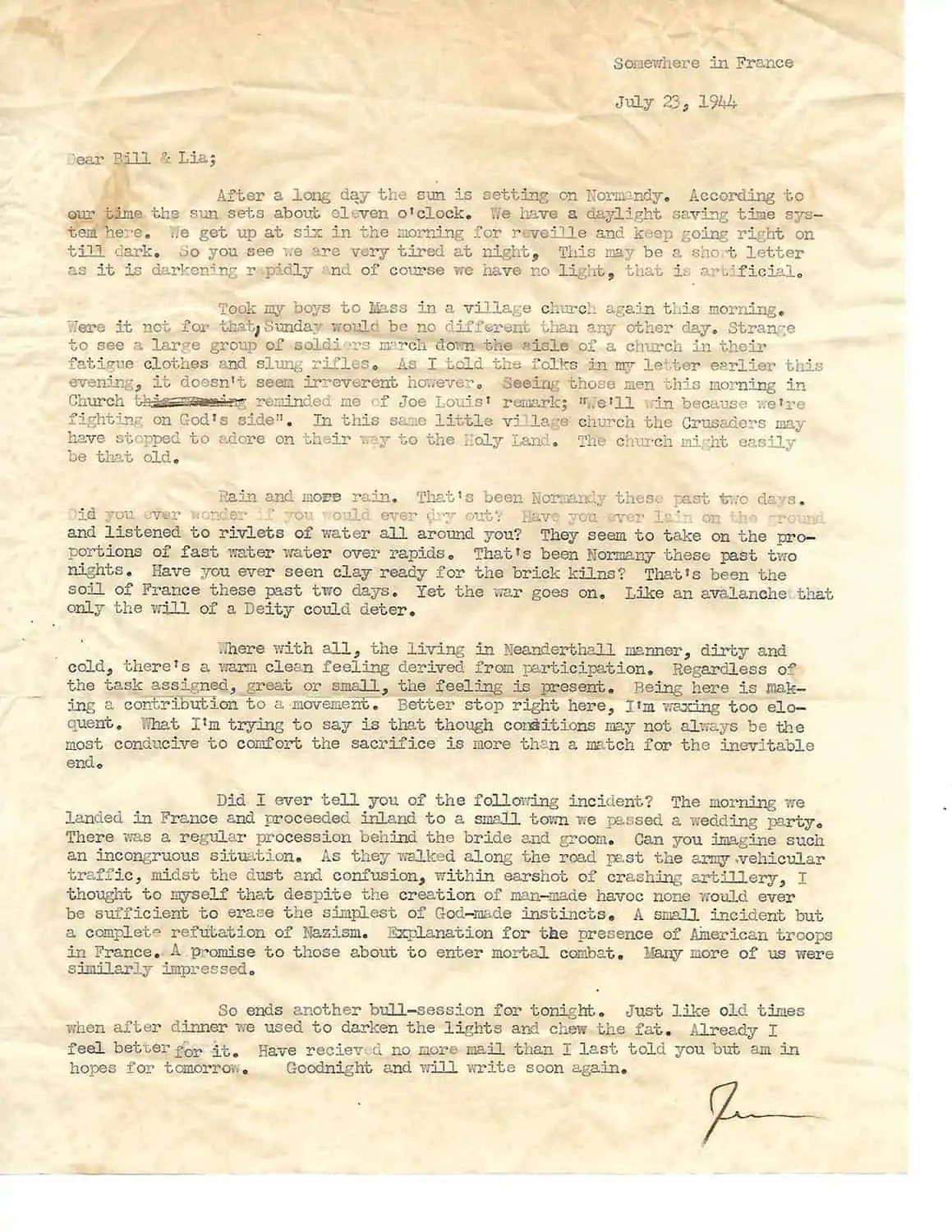 My Father's Letter After D-Day from Normandy