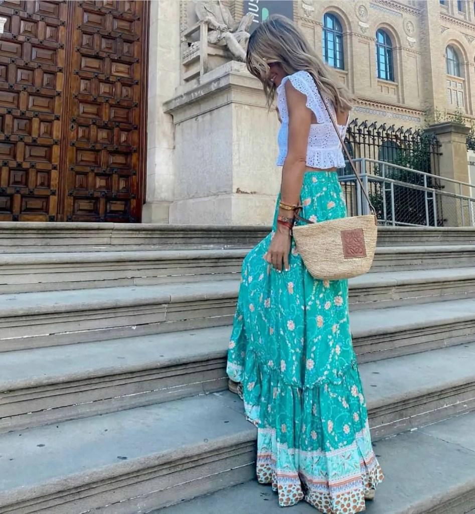 Aqua skirt and straw crossbody bad
