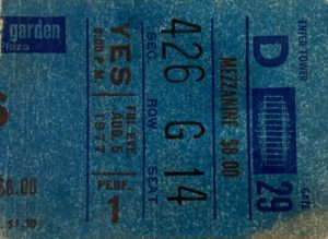Yes Concert Ticket 1977