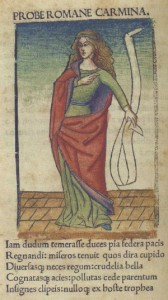 The first five lines of Cento Probae with a depiction of the author, Faltonia Betitia Proba, holding a scroll.