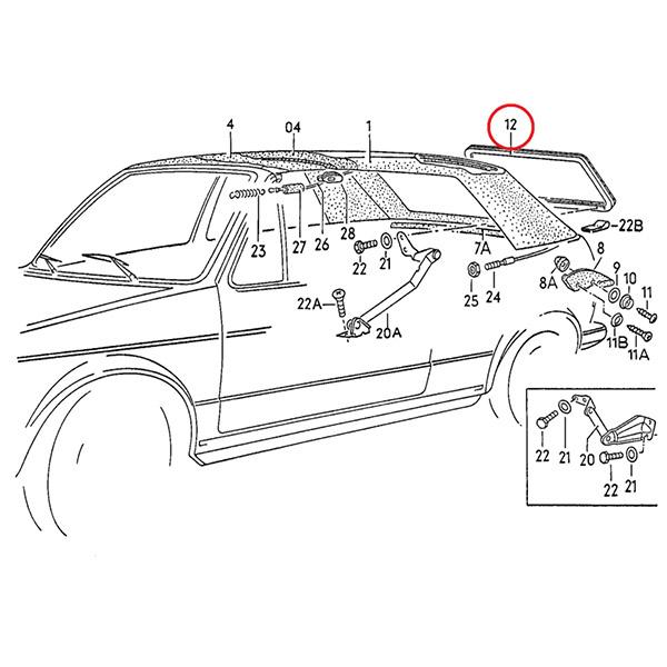 155871423 Rama Tylnej Szyby VW Golf 1 Cabrio