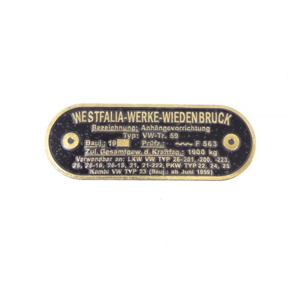 Mosiężna Tabliczka Haka Westfalia VW Bus T1/T2