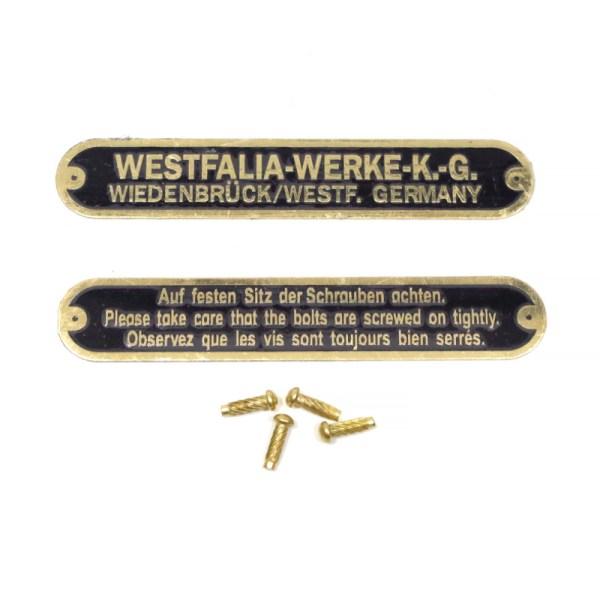 Mosiężne Tabliczki Dachu Westfalia VW Bus T1 / T2
