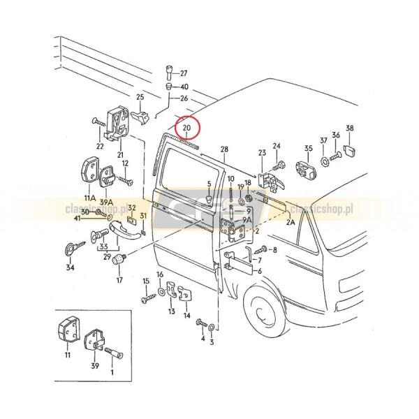 Uszczelka Drzwi Kabiny Prawa VW Bus T3 Doka